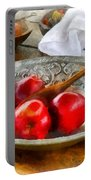 Apples In A Silver Bowl Portable Battery Charger