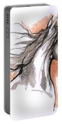 Arabian Horse Ink Drawing 3 Portable Battery Charger