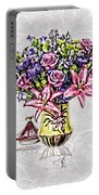 Arrangement In Pink And Purple On Rice Paper Portable Battery Charger
