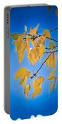 Autumn Aspen Leaves And Blue Sky Portable Battery Charger