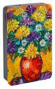 Autumn Flowers Gorgeous Mums - Original Oil Painting Portable Battery Charger