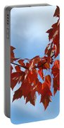 Autumn Leaves Tree Red Orange Art Prints Blue Sky White Clouds Portable Battery Charger