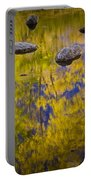 Autumn Tree Reflections With Rocks On The Muskegon River Portable Battery Charger