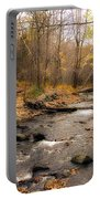 Babbling Brook In Autumn Portable Battery Charger