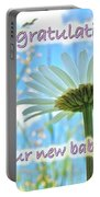 Baby Girl Congratulations Greeting Card - Oxeye Daisies Portable Battery Charger