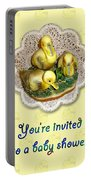 Baby Shower Invitation - Yellow Ducklings Figurine Portable Battery Charger