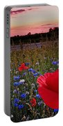 Bachelor Buttons And Poppies Portable Battery Charger