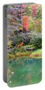 Barn And Pond In The Fall Portable Battery Charger