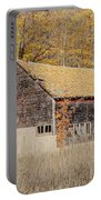 Barn With Autumn Leaves Portable Battery Charger