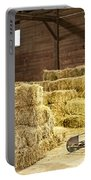 Barn With Hay Bales Portable Battery Charger