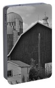 Barns And Silos Black And White Portable Battery Charger