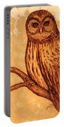 Barred Owl Coffee Painting Portable Battery Charger by Georgeta  Blanaru