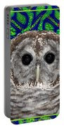 Barred Owl In A Fractal Tree Portable Battery Charger