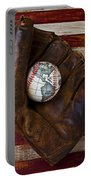 Baseball Mitt With Earth Baseball Portable Battery Charger by Garry Gay