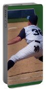 Baseball Pick Off Attempt 02 Portable Battery Charger by Thomas Woolworth