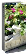 Basket Of Ivy And Flowers In The Sunshine Portable Battery Charger