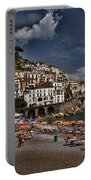 Beach Scene In Amalfi On The Amalfi Coast In Italy Portable Battery Charger