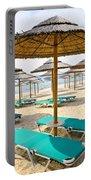 Beach Umbrellas On Sandy Seashore Portable Battery Charger