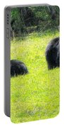 Bears In A Peaceful Meadow1 Portable Battery Charger