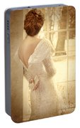Beautiful Lady In Sequin Gown Looking Out Window Portable Battery Charger