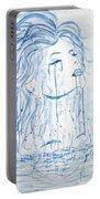 Beautiful Sea Woman Watercolor Painting Portable Battery Charger by Georgeta  Blanaru
