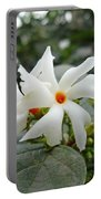 Beautiful White Flower With Orange Center Portable Battery Charger