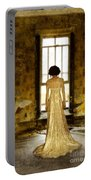 Beautiful Woman In Lace Gown In Abandoned Room Portable Battery Charger