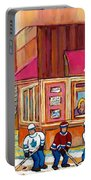 Beauty's Restaurant-montreal Street Scene Painting-hockey Game-hockeyart Portable Battery Charger