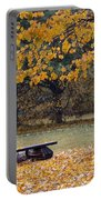Bench In The Autumn Landscape Portable Battery Charger