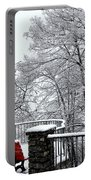 Bench With Snow Portable Battery Charger