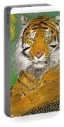 Bengal Tiger With Green Eyes Portable Battery Charger by Jack Pumphrey