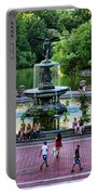 Bethesda Fountain Overlooking Central Park Pond Portable Battery Charger by Paul Ward