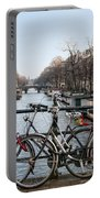 Bikes On The Canal In Amsterdam Portable Battery Charger