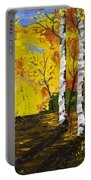 Birch Trees And Road Fall Painting Portable Battery Charger