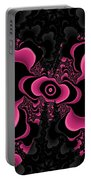 Black And Pink Fractal Butterfly Portable Battery Charger