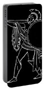 Black And White Ancient Greek Warrior Portable Battery Charger