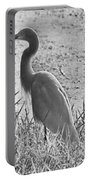 Black And White Egret  Portable Battery Charger