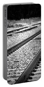 Black And White Railroad Tracks Portable Battery Charger