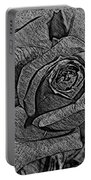 Black And White Rose Sketch Portable Battery Charger