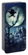 Black Bird Landing On A Branch In The Moonlight Portable Battery Charger
