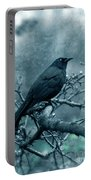 Black Bird On Branch Portable Battery Charger