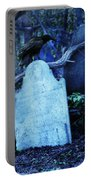 Black Bird Perched On Old Tombstone Portable Battery Charger