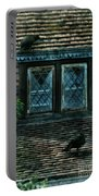 Black Birds Sitting On Roof By Window Portable Battery Charger