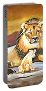Black Maned Lion And Cub Portable Battery Charger