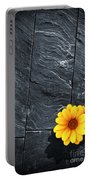 Black Schist Flower Portable Battery Charger by Carlos Caetano