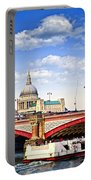Blackfriars Bridge And St. Paul's Cathedral In London Portable Battery Charger