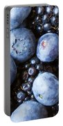 Blue And Black Berries Portable Battery Charger