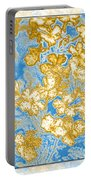 Blue And Gold Floral Abstract Portable Battery Charger