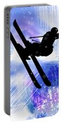 Blue And White Splashes With Ski Jump Portable Battery Charger