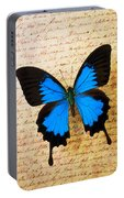 Blue Butterfly On Old Letter Portable Battery Charger